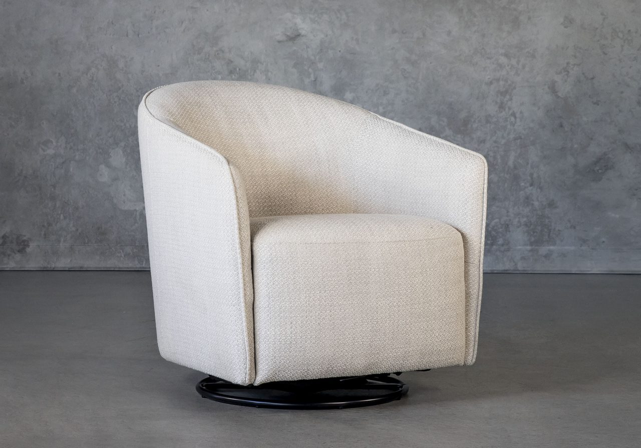 Milner Swivel Chair in Stucco, Angle