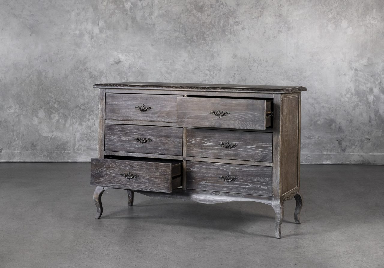 Monarch Low Dresser, Drawers Out, Angle