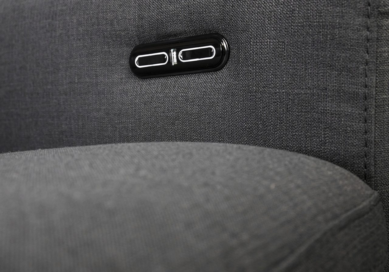 Stanley Loveseat in Dark Grey Fabric, Buttons