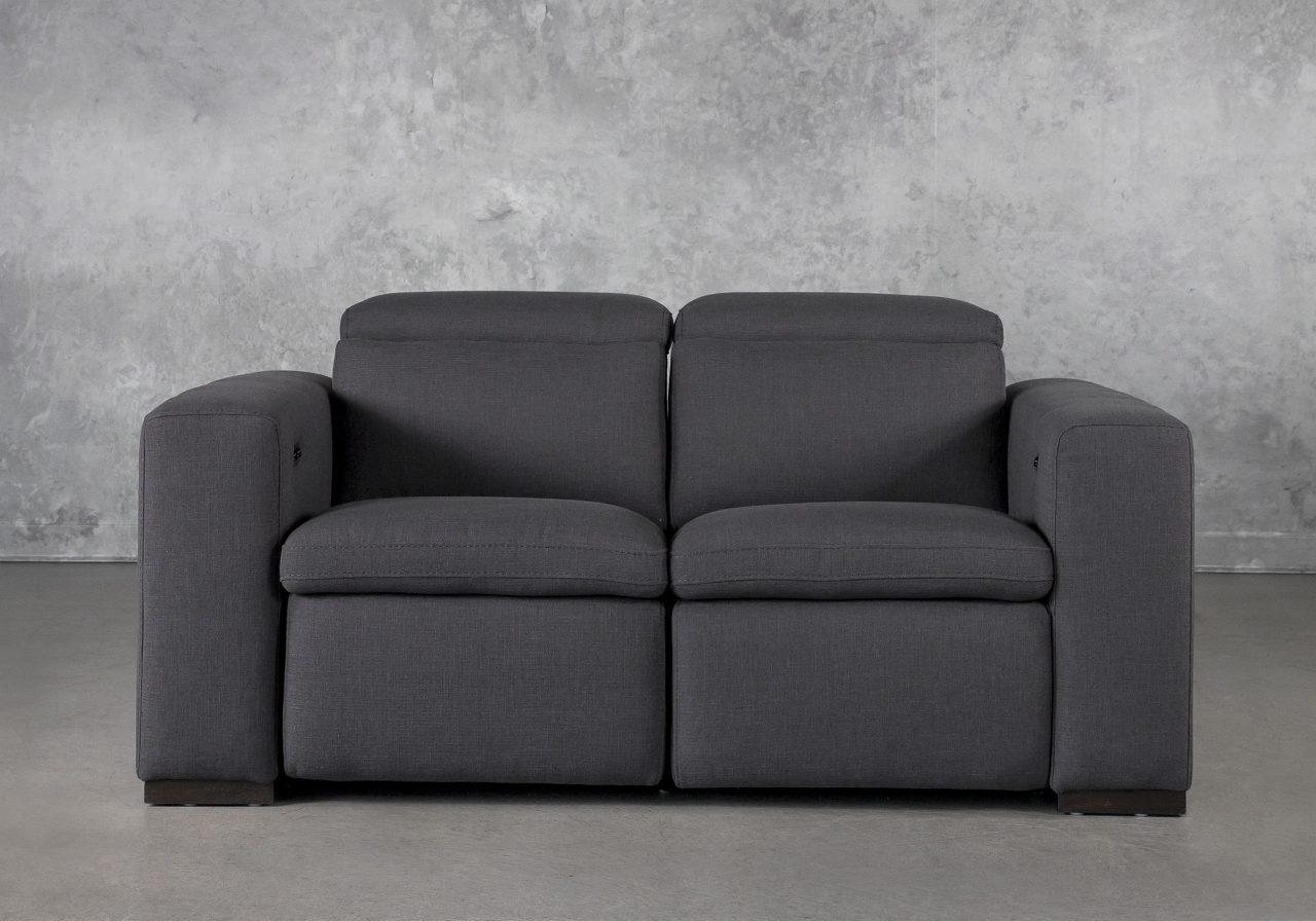 Stanley Loveseat in Dark Grey Fabric, Front