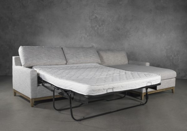 Twilight Sectional Sofabed in Beige Fabric, Angle, Bed Out, SR