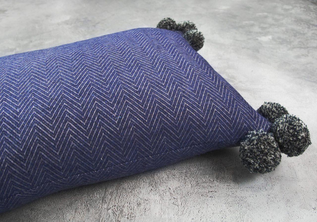 Corno Pom Pillow 12 x 20, Close Up
