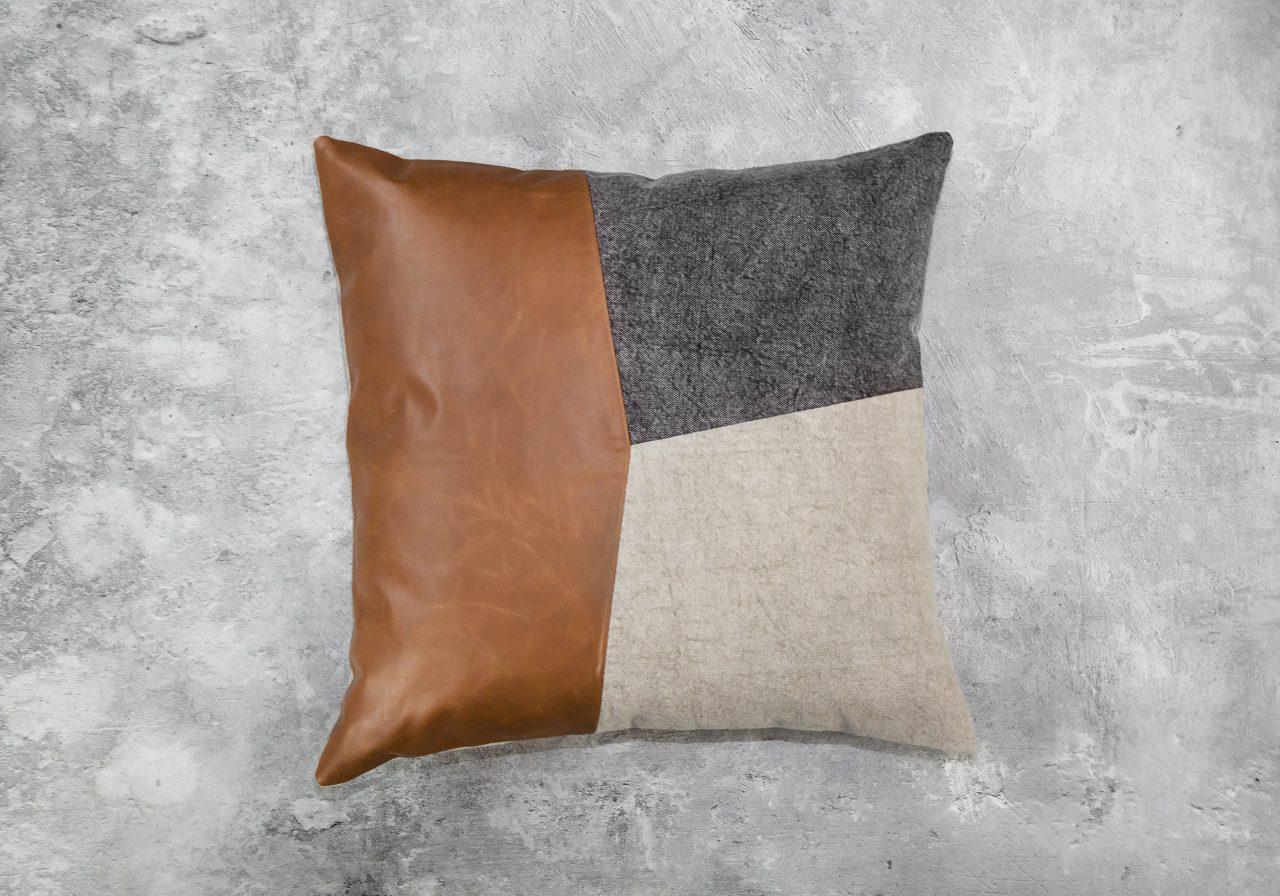 Feltan Leather Pillow 20 x 20, Front