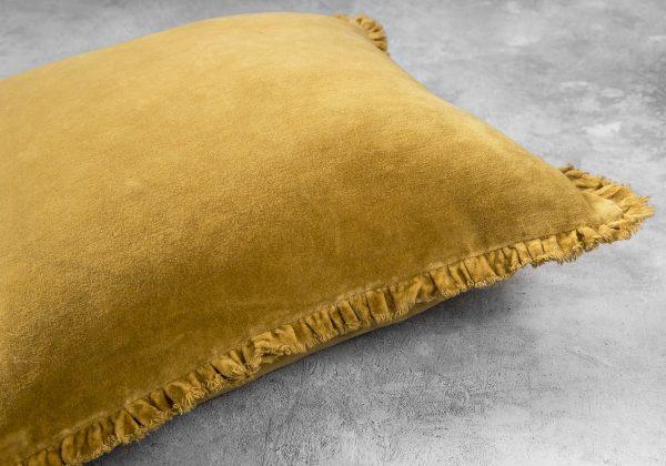 Fringe Ochre Pillow 20 x 20, Close Up