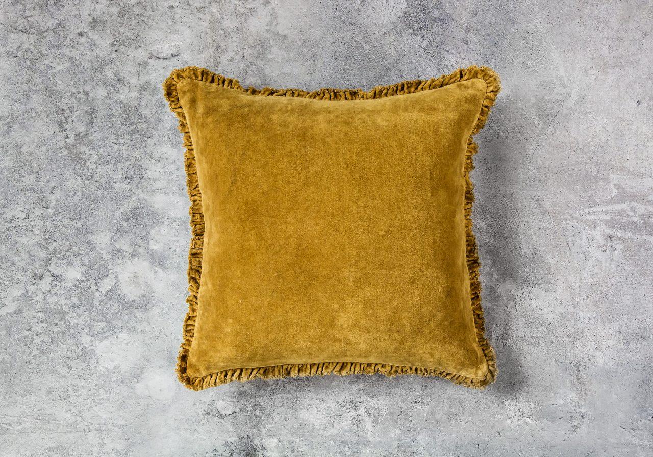 Fringe Ochre Pillow 20 x 20, Top