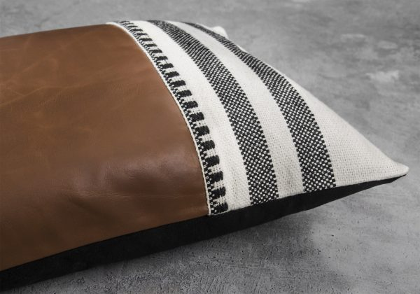 Pround Leather Pillow 12 x 20, Close Up