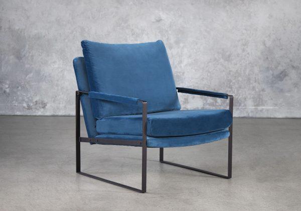 Reggie Chair In Teal Velvet, Angle