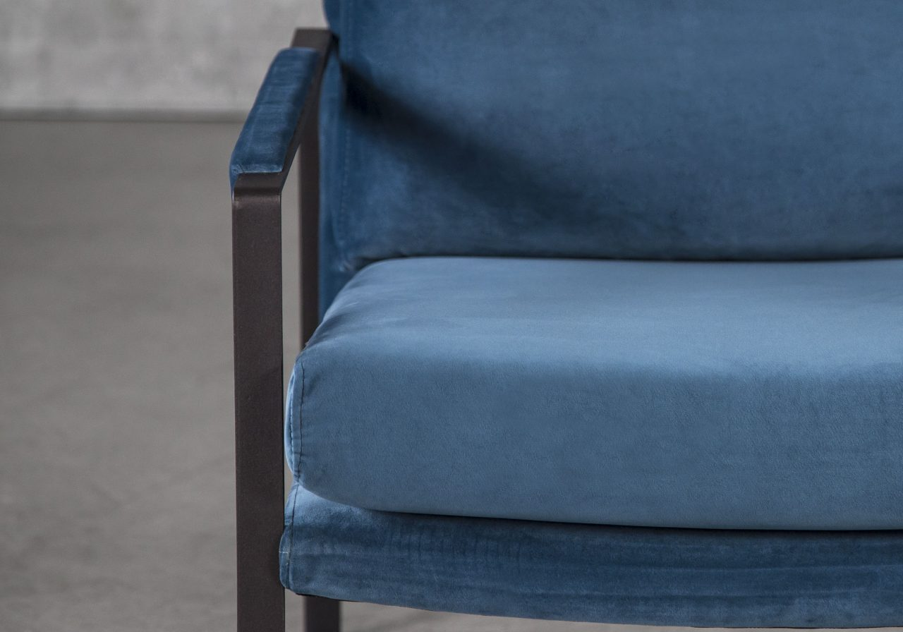 Reggie Chair In Teal Velvet, Close-Up