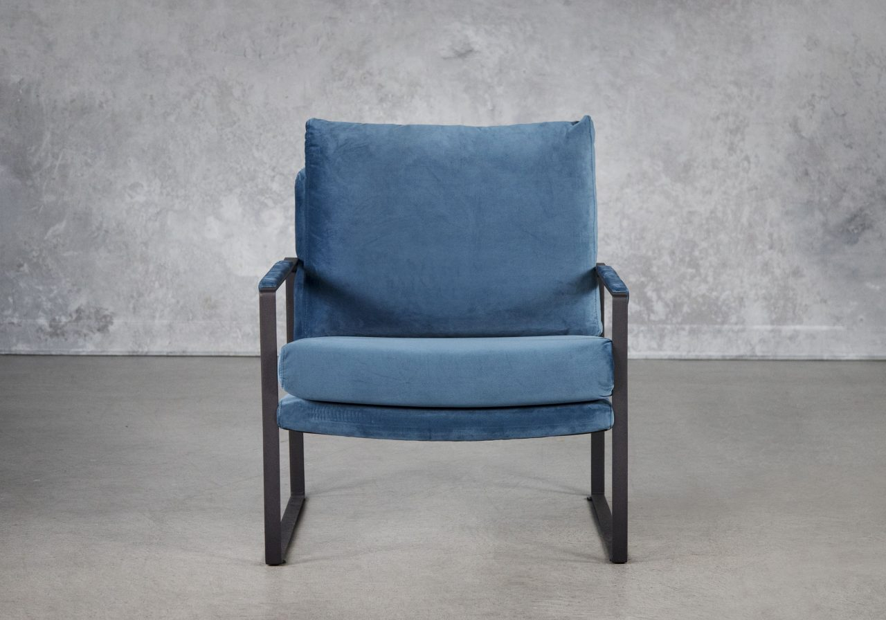 Reggie Chair In Teal Velvet, Front