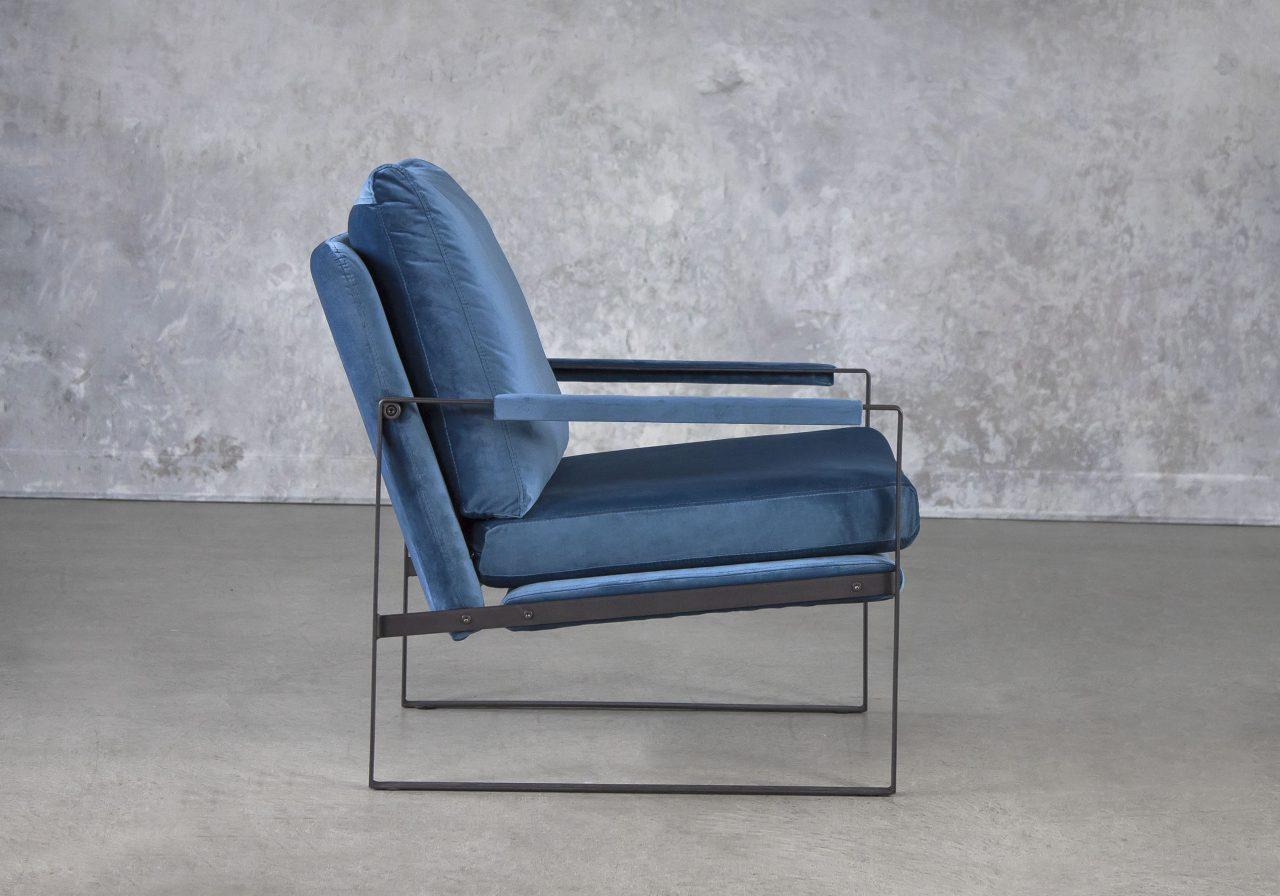 Reggie Chair In Teal Velvet, Side