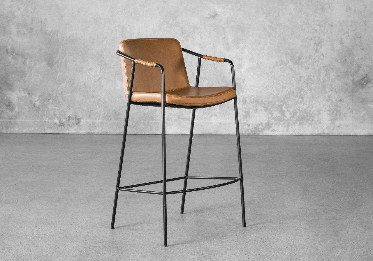 Boto Counter Stool in Light Brown, Angle