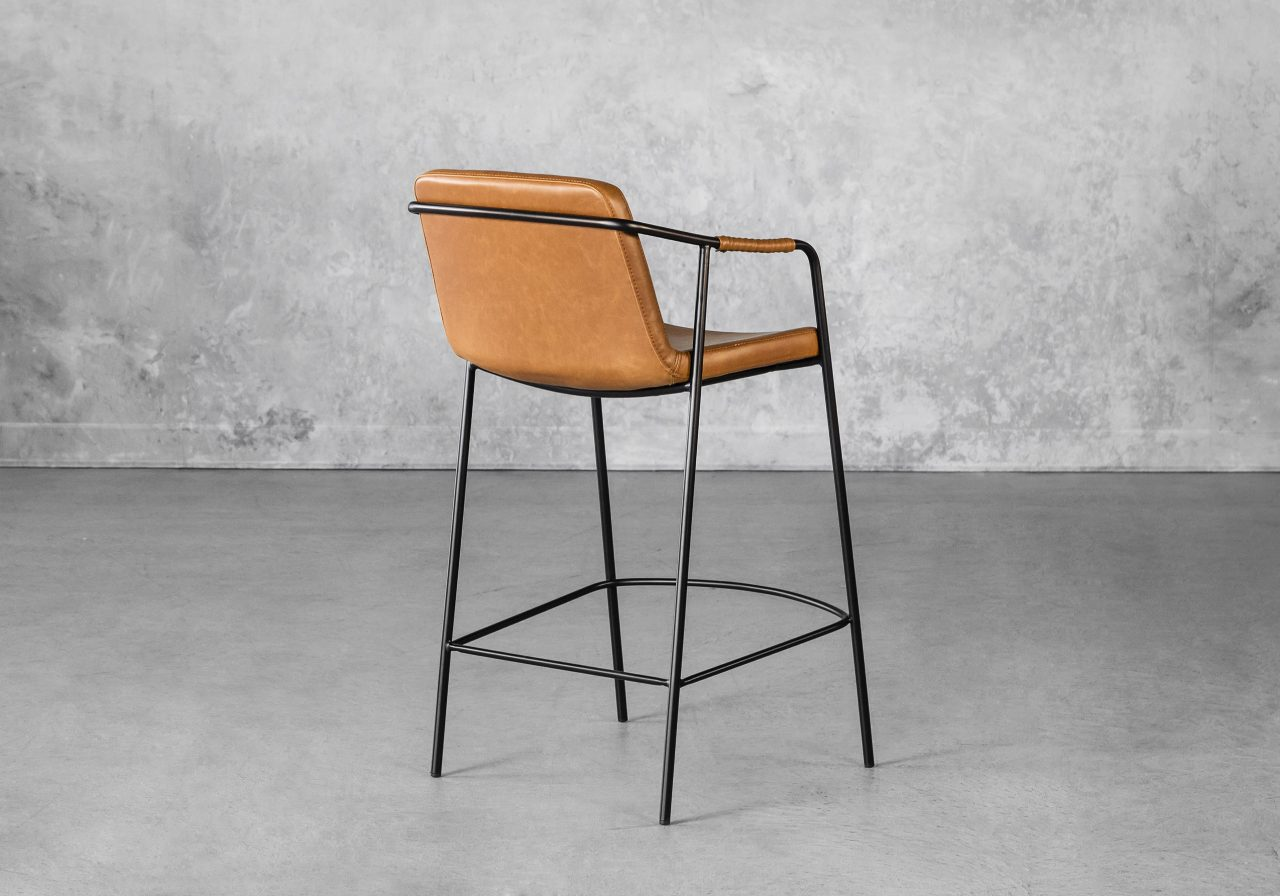 Boto Counter Stool in Light Brown, Back