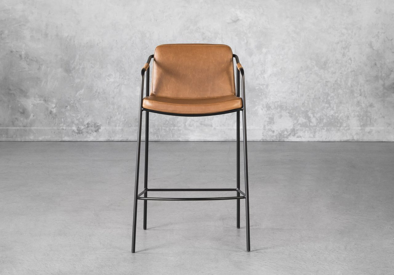 Boto Counter Stool in Light Brown, Front