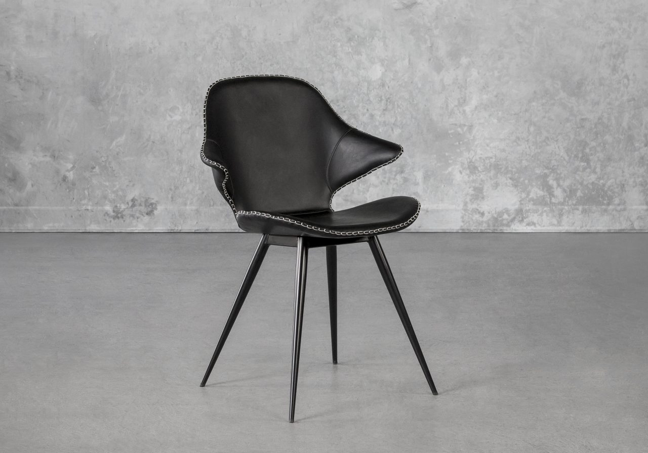 Karma Dining Chair in Black, Angle
