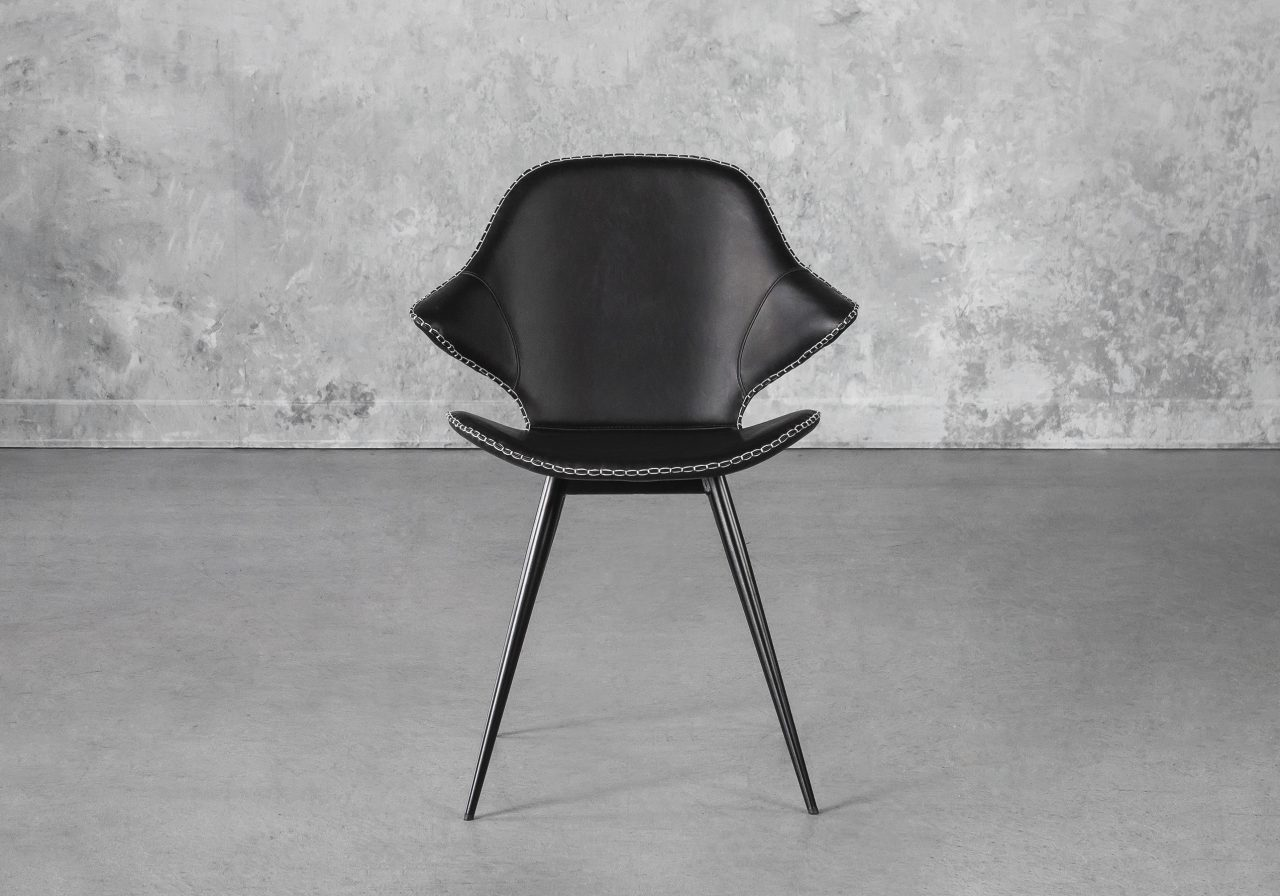 Karma Dining Chair in Black, Front