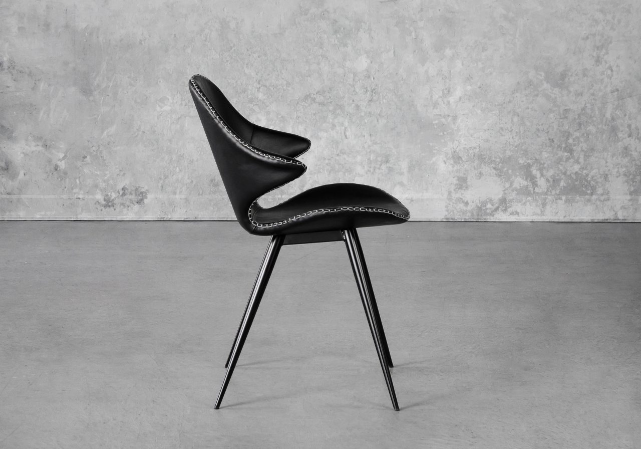 Karma Dining Chair in Black, Side
