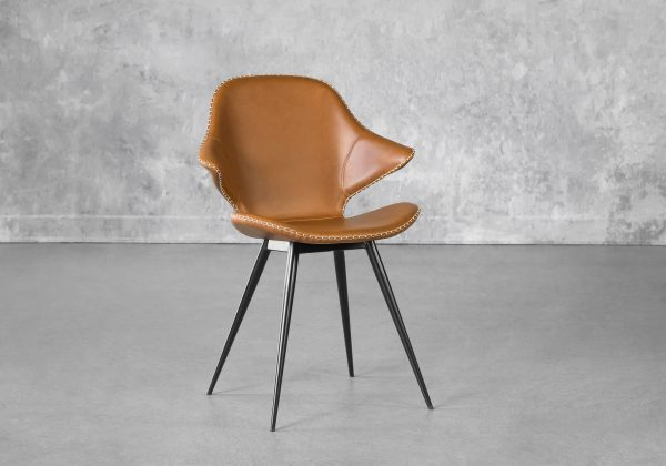 Karma Dining Chair in Light Brown, Angle