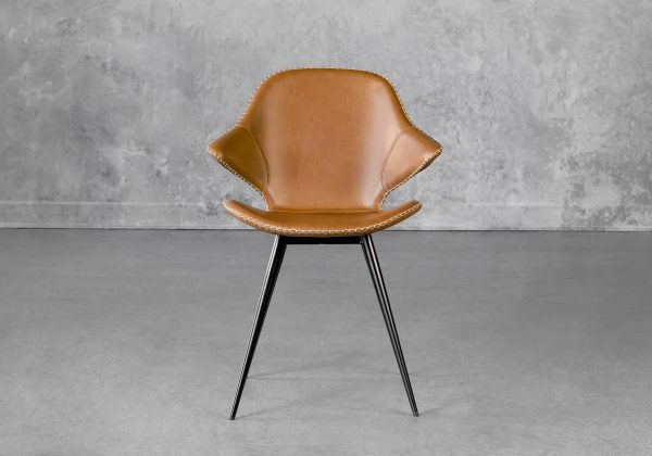Karma Dining Chair in Light Brown, Front