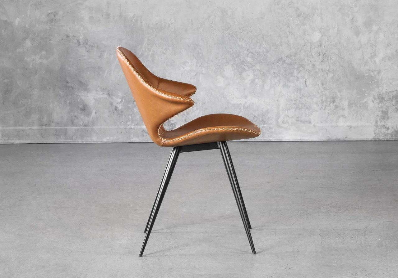 Karma Dining Chair in Light Brown, Side