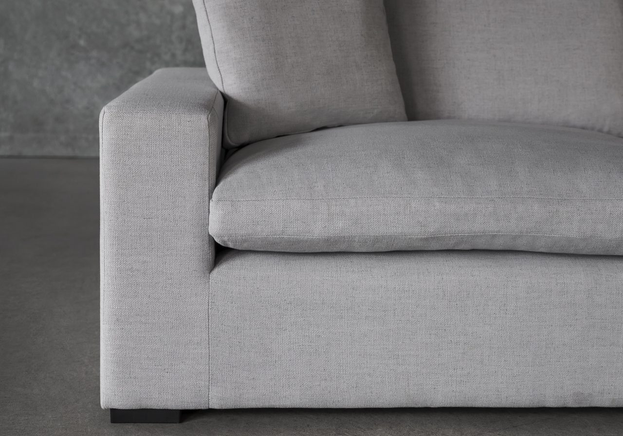 Vermont Loveseat in Grey Fabric, Close Up