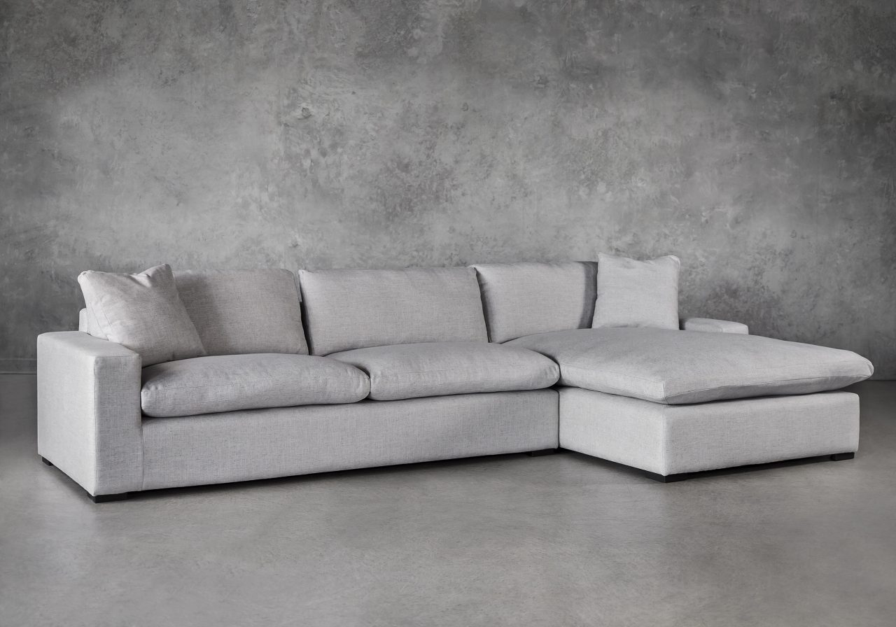 Vermont Sectional in Grey Fabric, Angle, SR