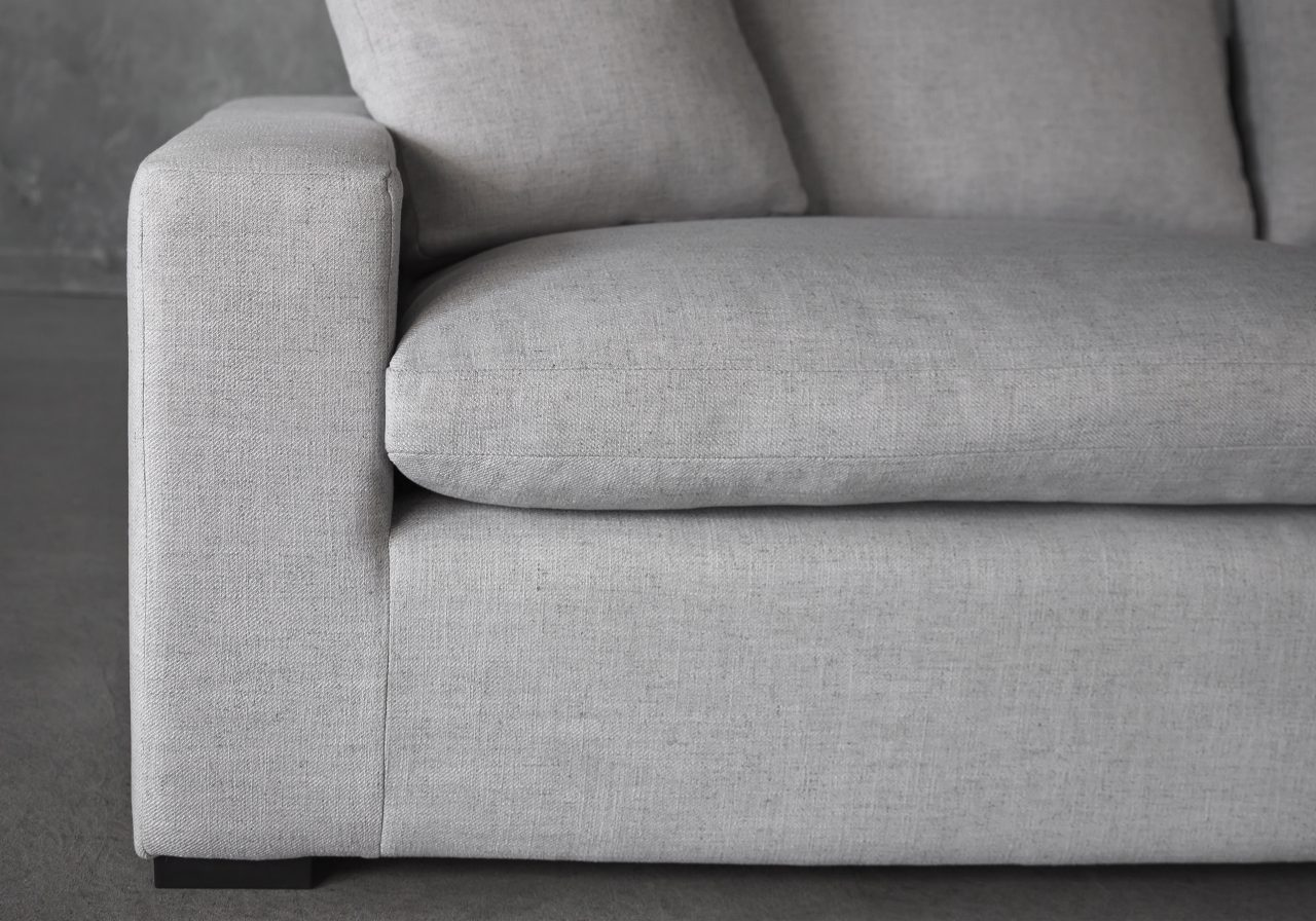 Vermont Sectional in Grey Fabric, Close Up, SR