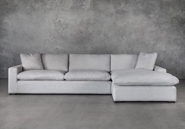 Vermont Sectional in Grey Fabric, Front, SR