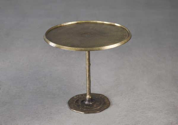 Bark End Table in Brass, Angle