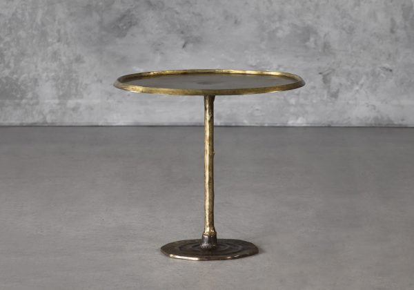 Bark End Table in Brass, Front