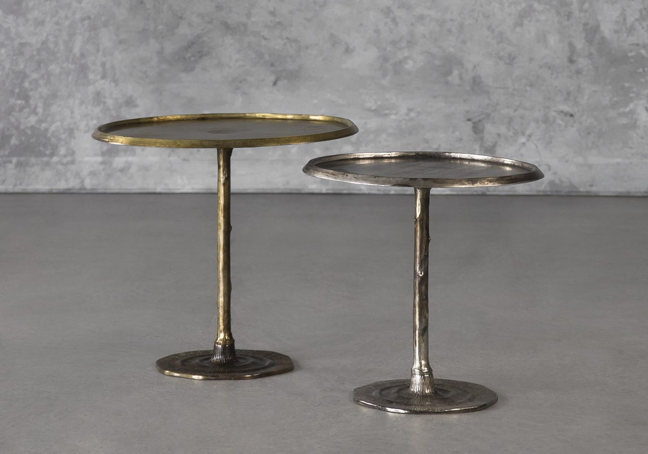 Bark End Table in Brass (Large) and Silver (Small)