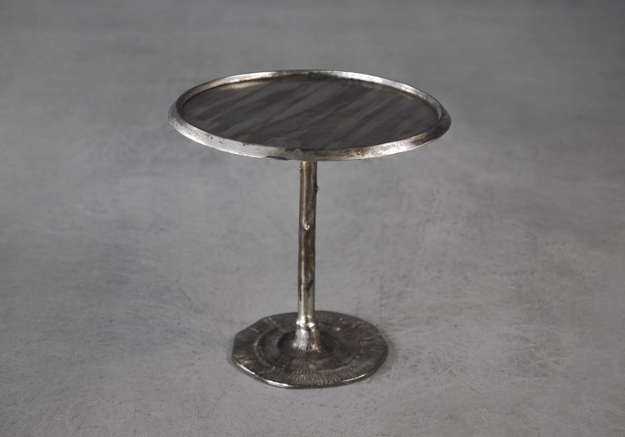 Bark End Table in Silver (Small), Angle