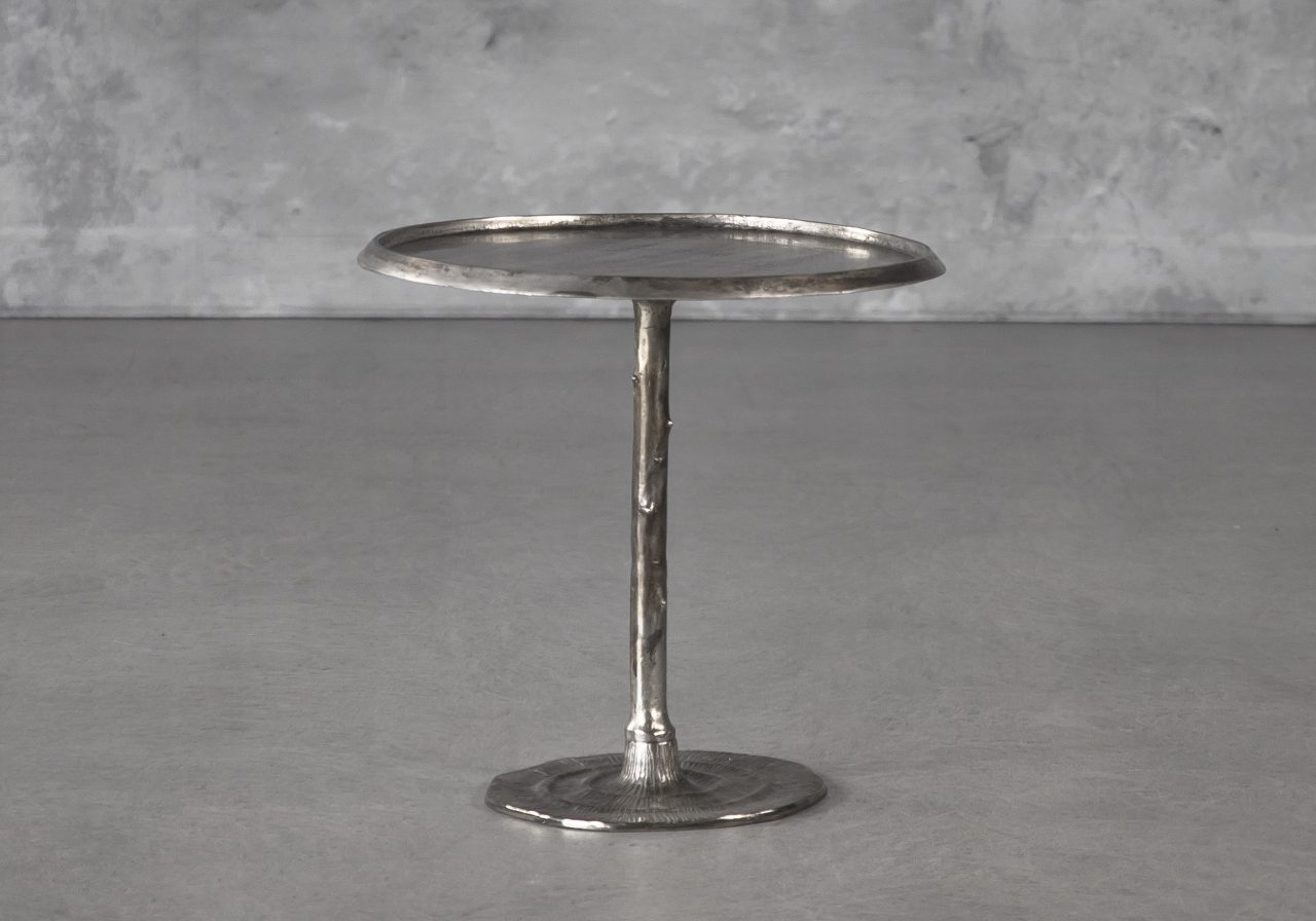 Bark End Table in Silver (Small), Front