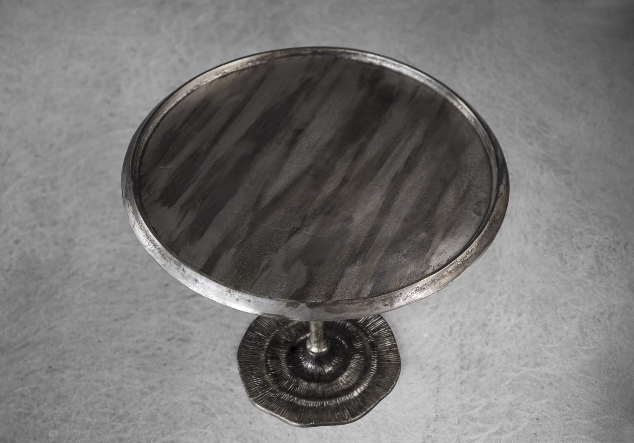 Bark End Table in Silver (Small), Top, Angle