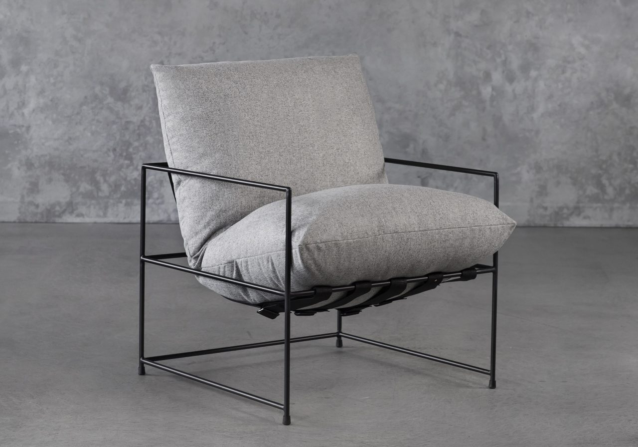 Trento Chair in Grey, Angle