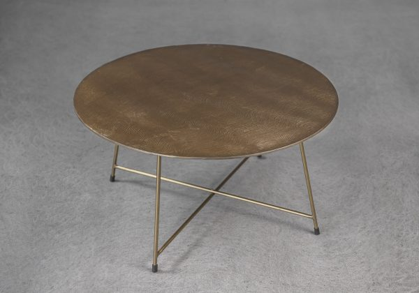 Wave Coffee Table in Brass, Angle, Top