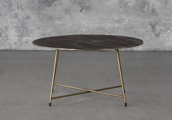 Wave Coffee Table in Brass, Front