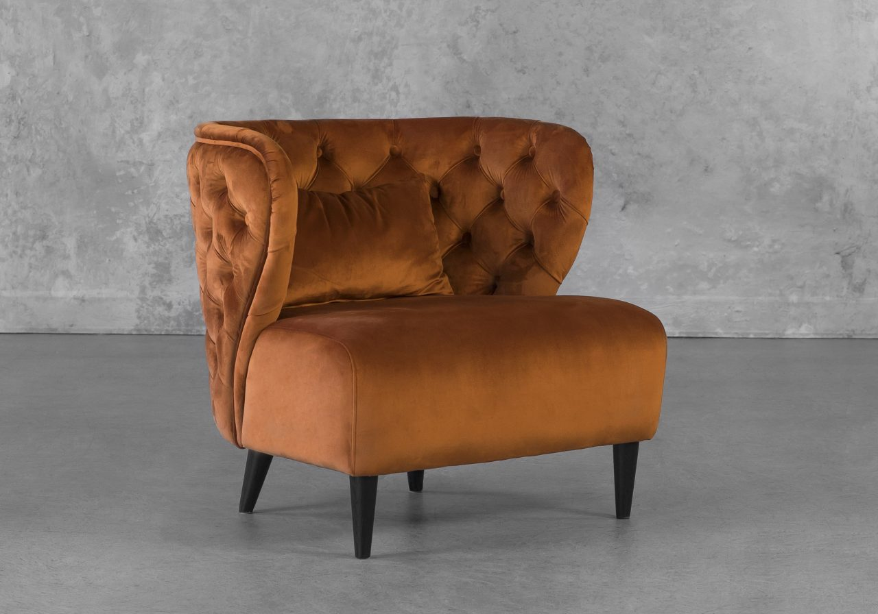Becky Accent Chair in Copper, Angle