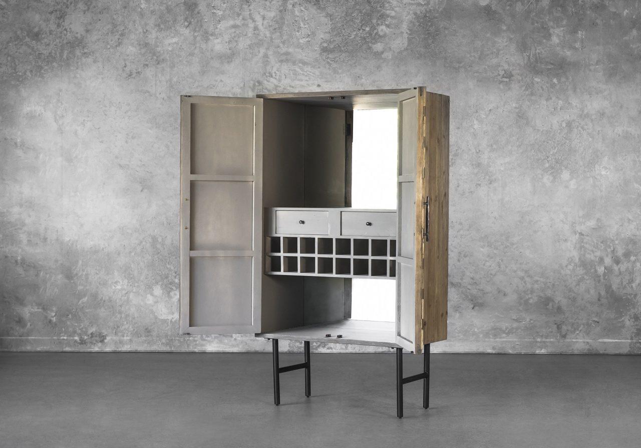 Orla Wine Cabinet, Angle, Open